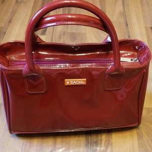 Sachi | Red Shiny Patent Insulated Lunch Tote Bag